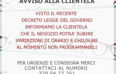 AVVISO ALLA CLIENTELA – COVID19